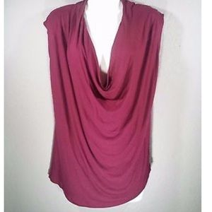 CAbi 535 burgundy red sleeveless deep neck top